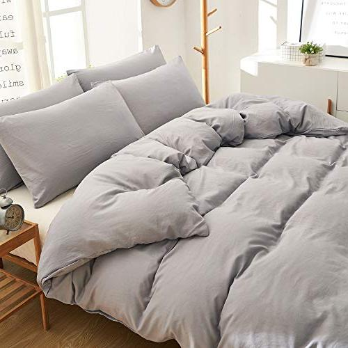 BOBforyou Pieces Cover King,Stone Dyed Microfiber Duvet Set,Ultra Soft Care,Simple Bedding