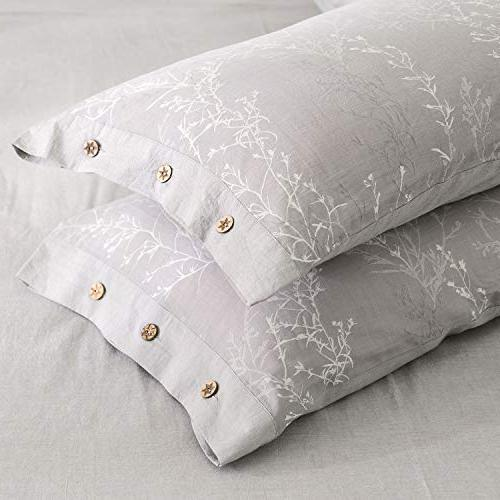 OREISE Duvet Cover Set King Washed White Thin Floral Style
