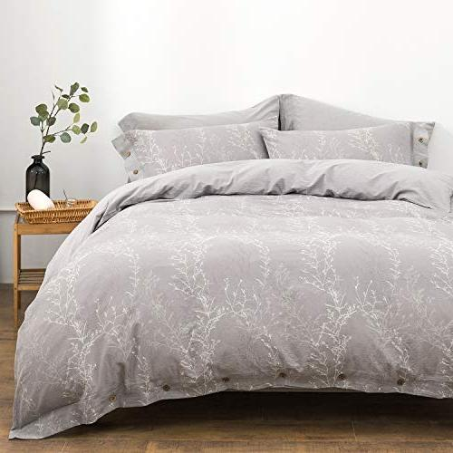 OREISE Duvet King Washed Yarn, White Thin Branch Floral Style 3Piece Set