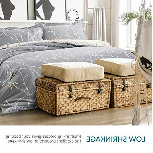 Cover Set Modern with Zipper Corner Ties Branch Size with Pillow Sham Soft