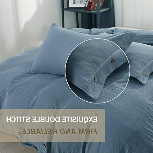 Duvet Set Queen, 3 piece 1200 TC Hotel Luxury Hypoallergenic Microfiber Down Comforter Bedding Cover Buttons, Zipper, Ties Modern Men and Gray