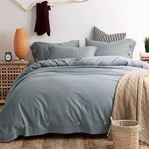 Duvet Set Queen, 3 TC Microfiber Down Bedding Buttons, Zipper, Modern Style and Women Slate Gray