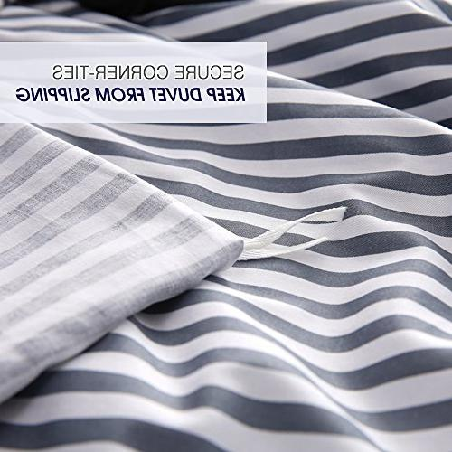 VM Duvet Queen,Striped Duvet Cover with Quality 100% Luxurious,