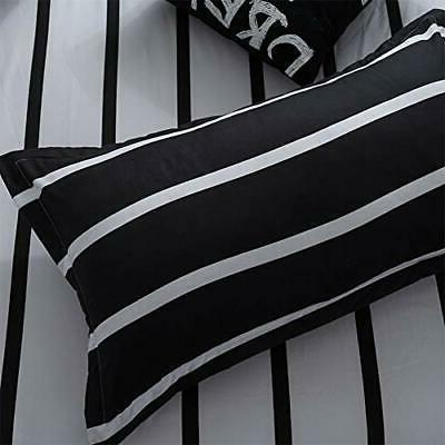 Duvet Size Simplicity Black and Queen Striped