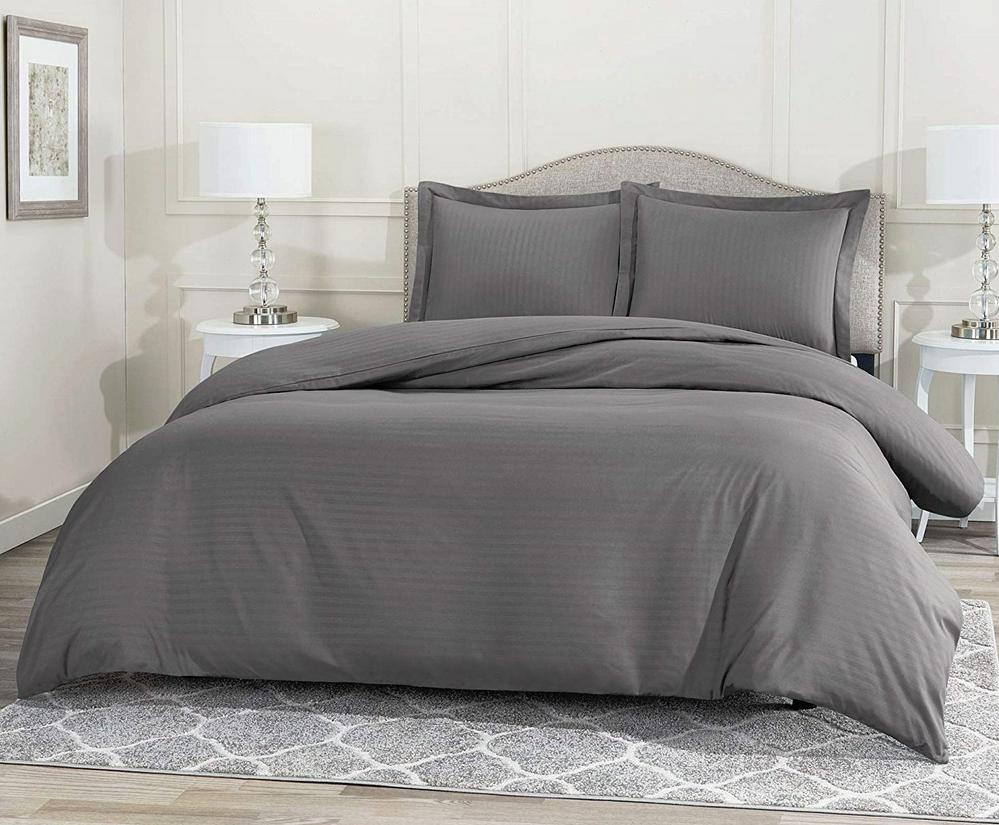 Duvet Cover Set With Pillow Shams Charcoal King Size