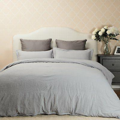 Bedsure Duvet Cover Set with Zipper Closure Solid Grey Full/