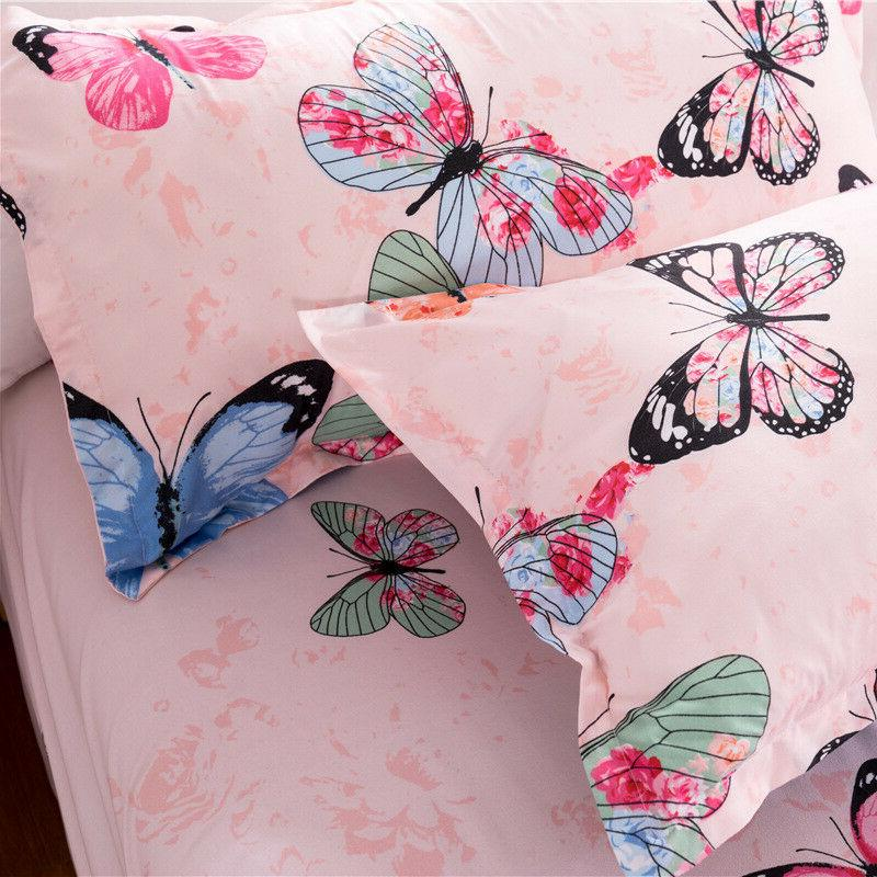 Butterfly Cover Set Colorful Kids Bedding Set Soft Twin Size