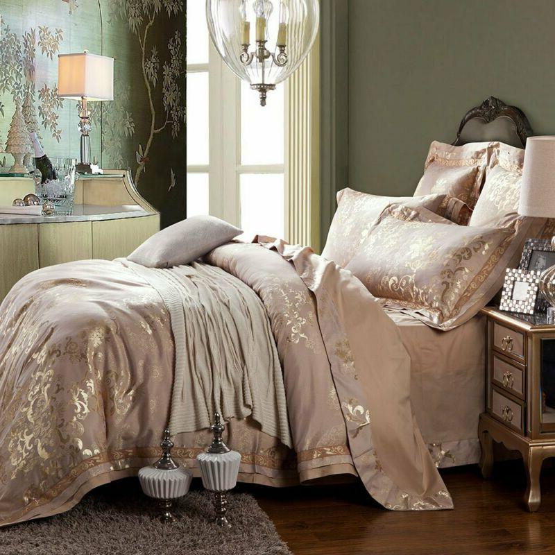 Mkxi Fashionable Pattern Jacquard Silk Cover Set,Luxury Quee