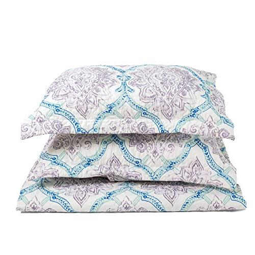 Flower Taupe&Indigo Coverlet 3-Piece Cover Patchwork Lightweight Microfiber