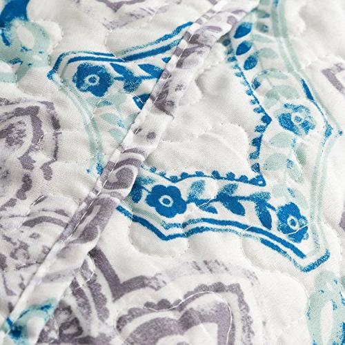 Flower Paisley Taupe&Indigo 3-Piece Bed Cover Patchwork Bedspread
