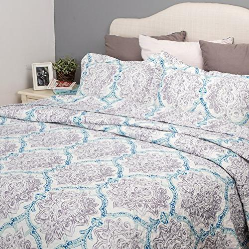 Flower Quilt Taupe&Indigo Coverlet Full/Queen 3-Piece Cover Patchwork Bedspread Lightweight