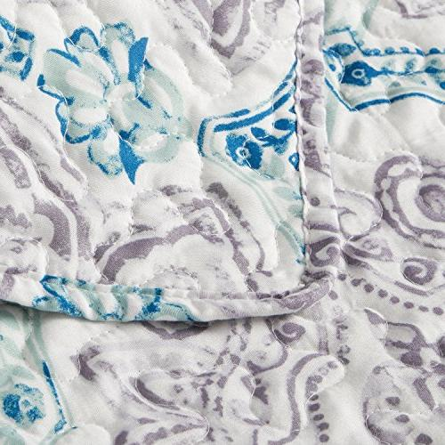 Taupe&Indigo Full/Queen 3-Piece Bed Cover Patchwork Microfiber