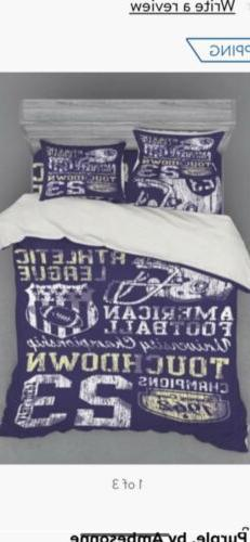 Football Duvet cover set with matching fitted  Queen Sheet.