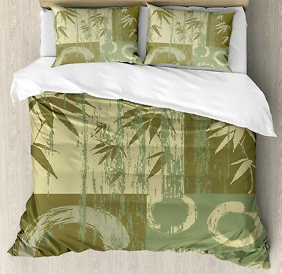 Green Duvet Cover Set with Pillow Shams Vintage Zen Asian Ba
