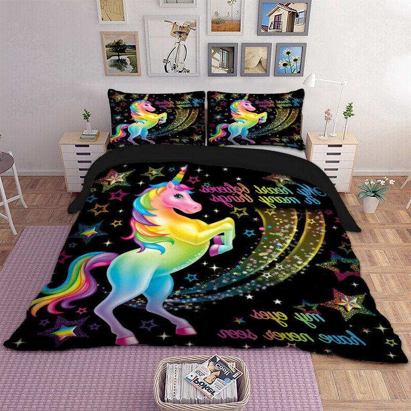 HD Magical Star Unicorn Duvet Set Queen Bedding Animal