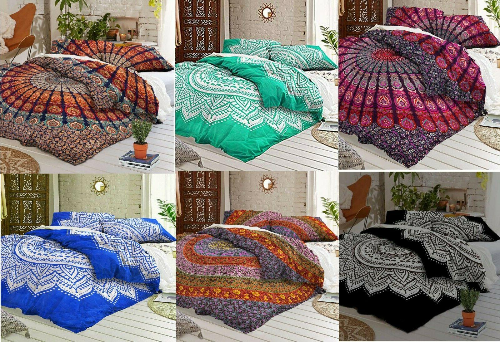 indian mandala tapestry bed cover set double