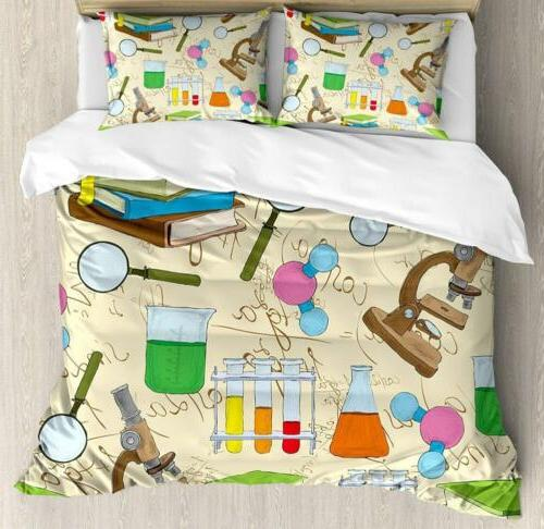 Ambesonne Kids Duvet Cover Set Queen Size, Science Education