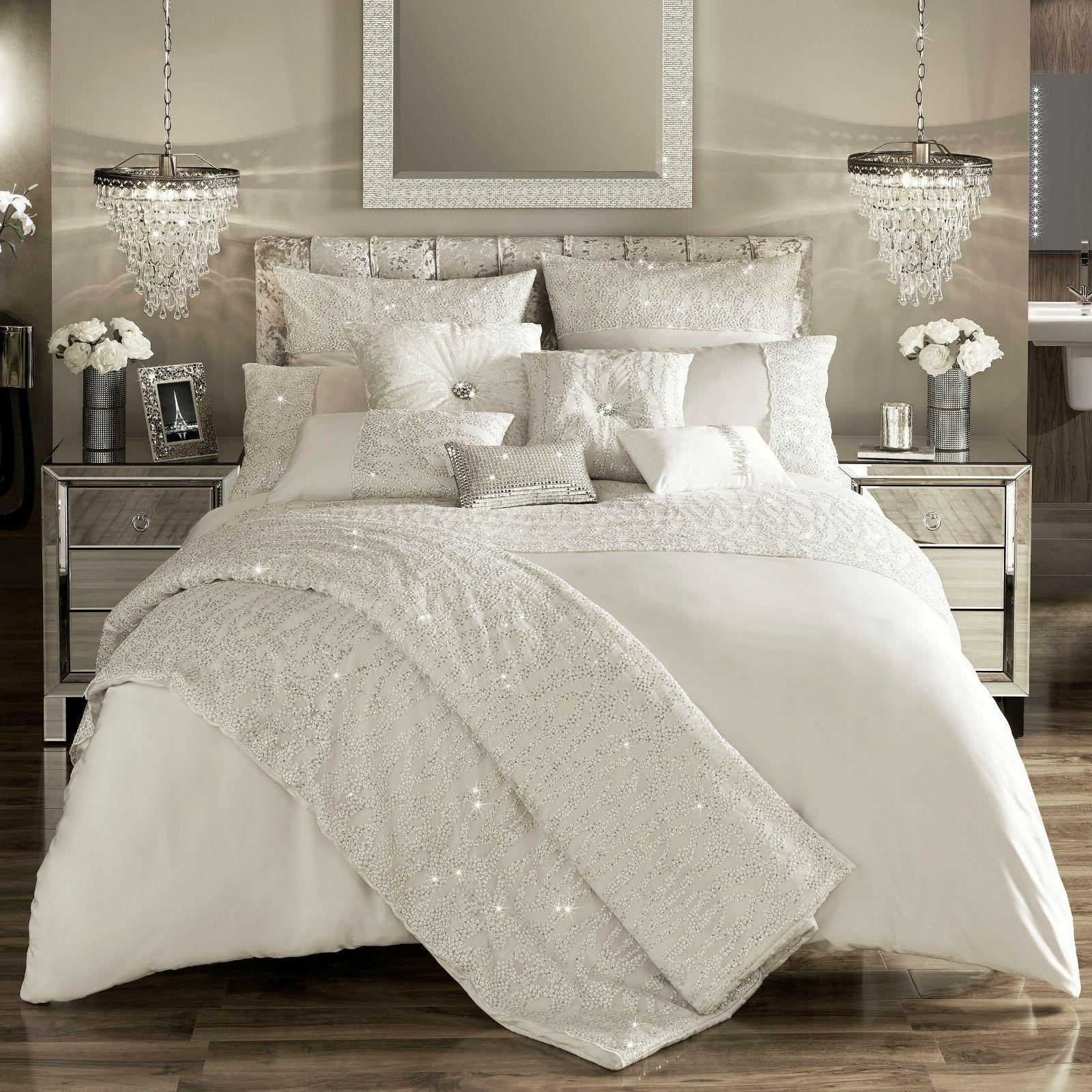 Kylie Minogue Bedding DARCEY Oyster / Ivory Duvet / Quilt Co