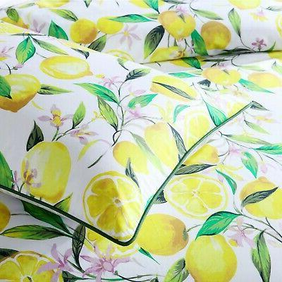 Lemons Cover Set White by Bianca features Lemons in green