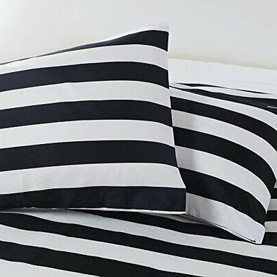 Vaulia Lightweight Microfiber Cover Black White Stripe - Size