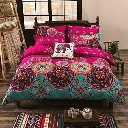 Duvet Cover Set Queen Soft Microfiber Pink Moroccan Design 3