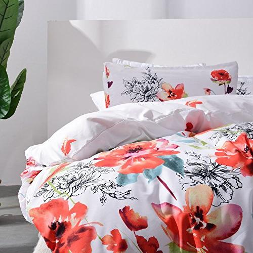 Leadtimes Floral Bedding Sets with Lightweight 1 Duvet Cover Shams