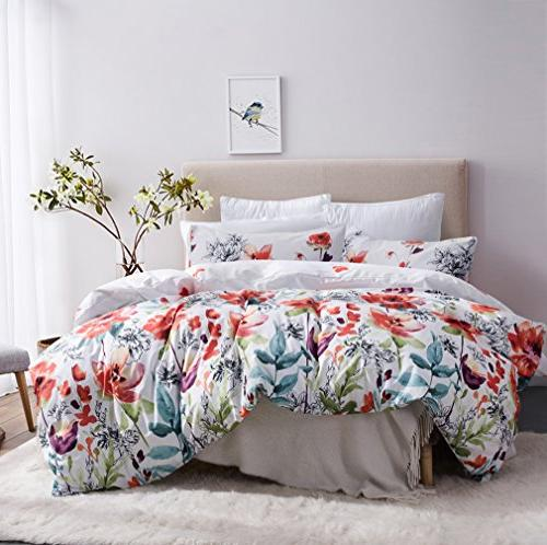 Leadtimes Floral Boho Bedding with Soft Lightweight Microfiber 1 Cover 2 Shams