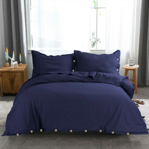 Linen Duvet Set with Twin King Buttons