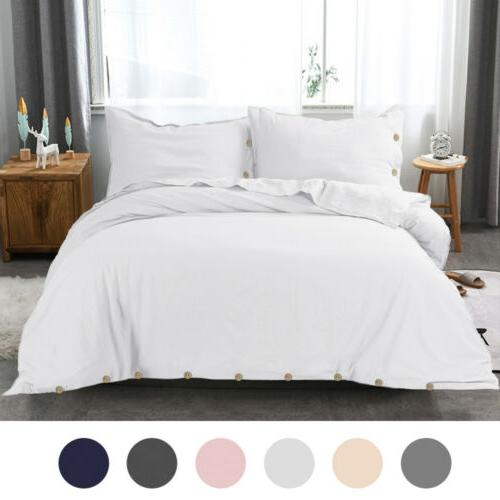 Linen Cotton Duvet Set Twin Buttons