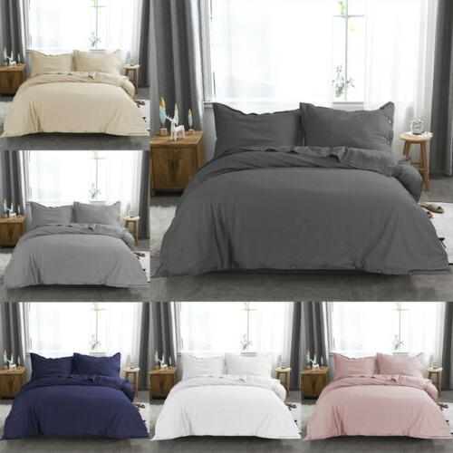linen cotton duvet cover set with pillow