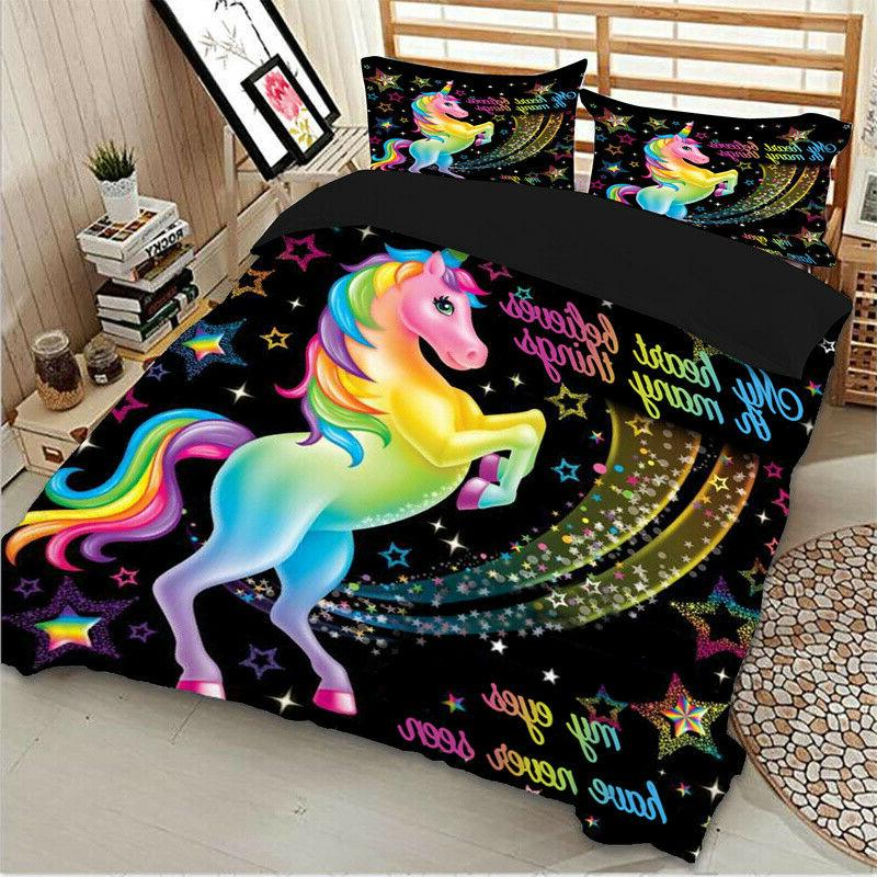 HD Magical Unicorn Duvet Cover Set King Queen Animal