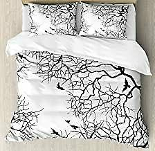 Ambesonne Nature Duvet Cover Set, Birds Flying Over Twiggy T