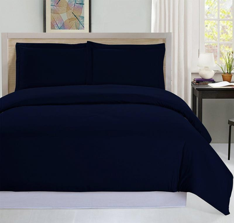 NEW Navy King Size Duvet Cover Set Bedding with