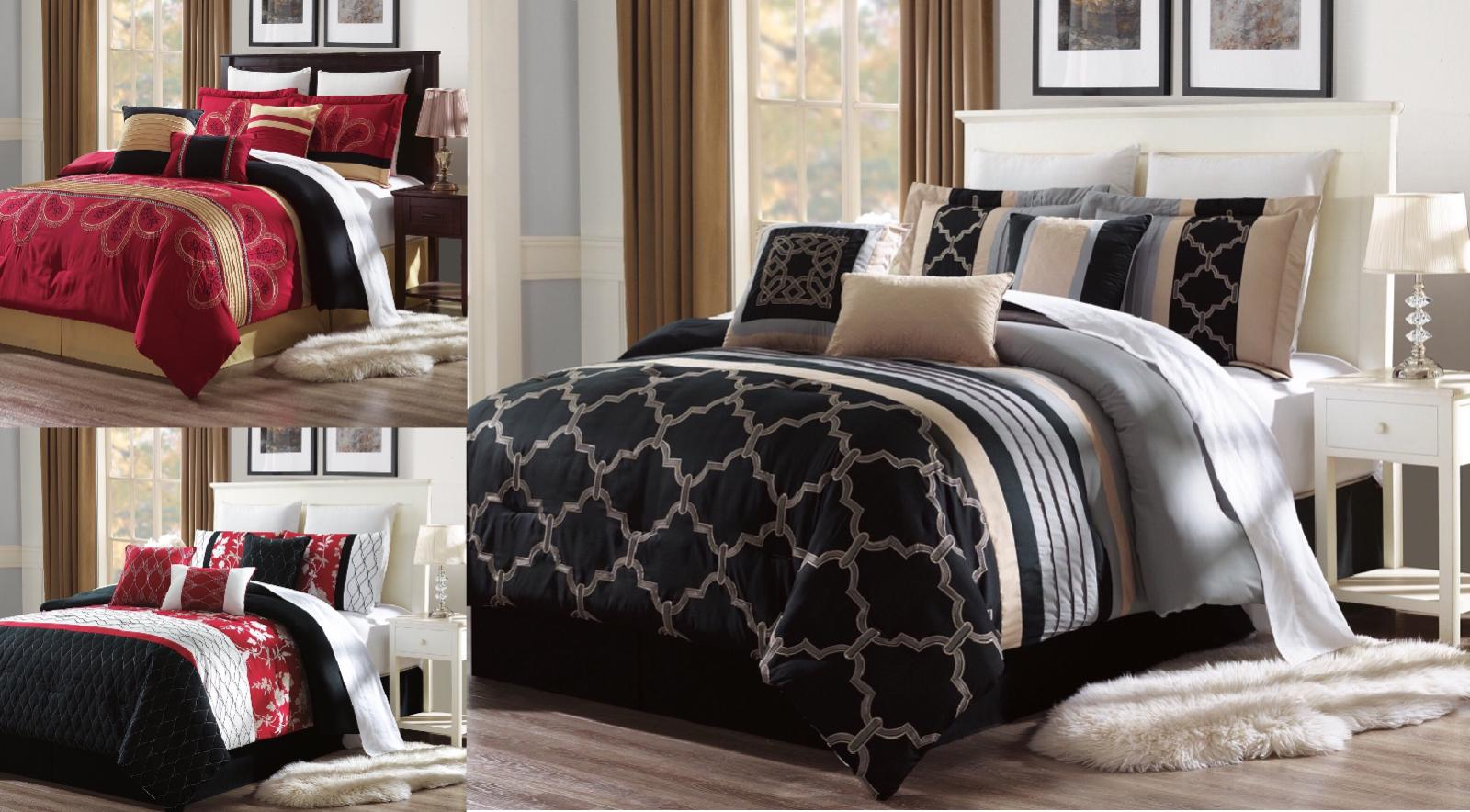 new bed collection 3pc embroidery duvet comforter