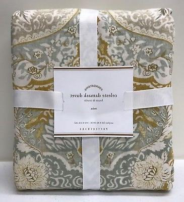 NEW Pottery Barn Celeste Damask TWIN Duvet Cover, GOLD, 4-Av