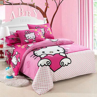 Hello Kitty 4pc kids cover bed sheet twin queen