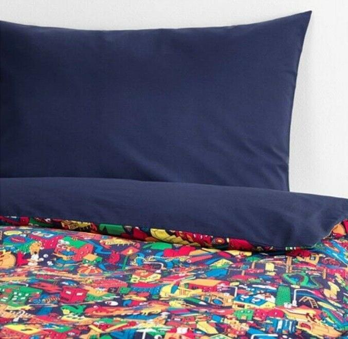 New IKEA LUSTIGT Boys Twin Quilt Cover Bedding Linen Set