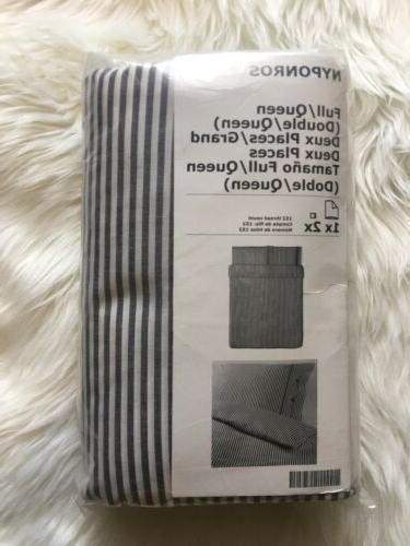 IKEA NYPONROS Duvet Comforter Cover 2 Shams Set Gray White STRIPE