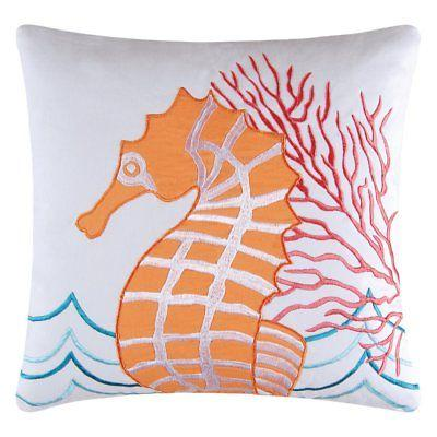 Orange Seahorse Throw Pillow by C&F Home