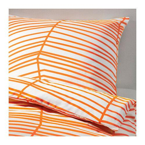 IKEA Orange White Stripe ODESTRAD Cover w Full Queen NIP