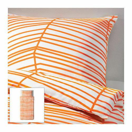 IKEA Orange Stripe ODESTRAD w Cases Queen