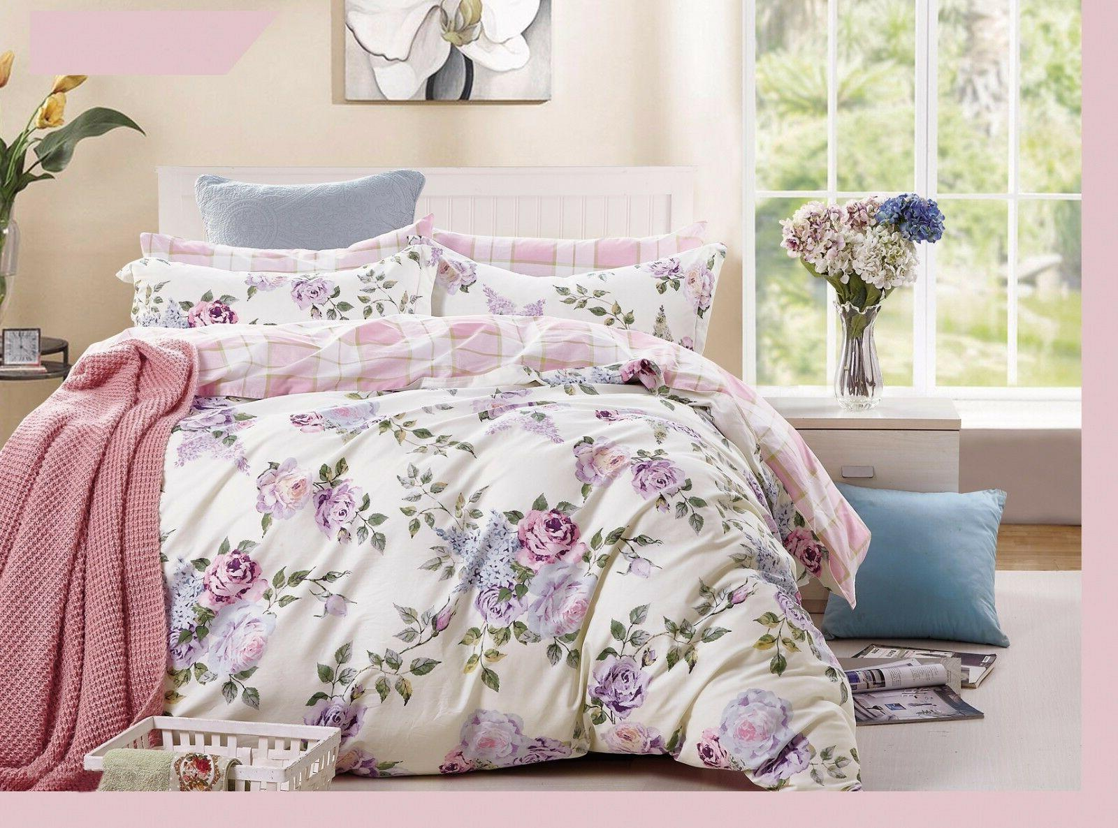 pink-purple rose cotton bedding set: duvet cover set, twin/f