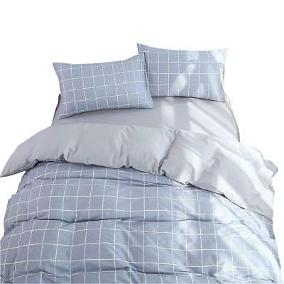 VM VOUGEMARKET Plaid Duvet Cover Set King Size,3 Pieces Cott