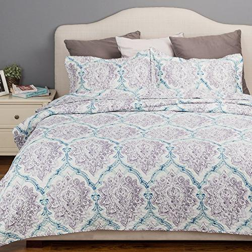 flower quilt paisley grey coverlet