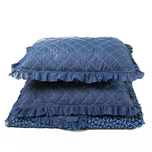 Flowers Diamond Stitching Coverlet Full/Queen 3-Piece Bed Blue Patchwork Hypoallergenic