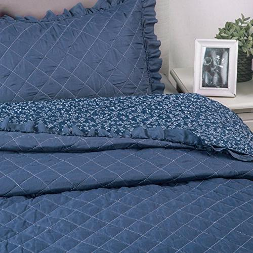 Flowers Quilts Diamond Stitching Coverlet Set 3-Piece Bed Cover Flora and Dark Blue Patchwork Hypoallergenic Microfiber Design