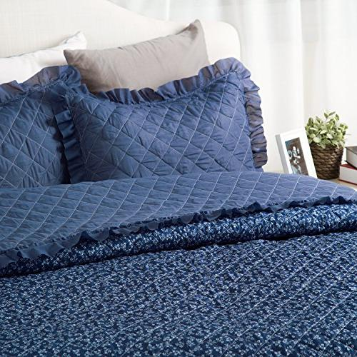 Flowers Quilts Diamond Stitching Coverlet Full/Queen Size Flora Blue Patchwork Hypoallergenic