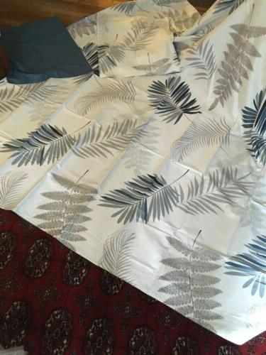 queen duvet cover and shams blue fronds
