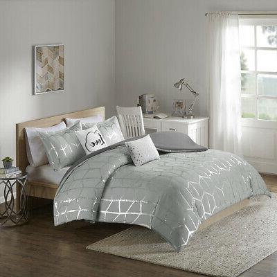 raina metallic printed duvet cover set