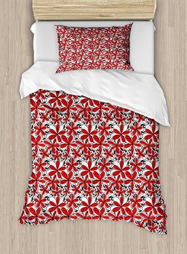 Ambesonne Red And Black Twin Size Duvet Cover Set Doodle Art Style Abstract Flowers With Petals Leaves Decorative 2 Piece Bedding
